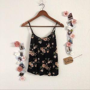 Black Pastel Floral Tank Top